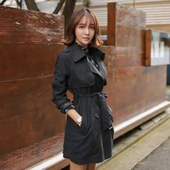 WITH IPUN - Flap-Front Trench Coat with Sash