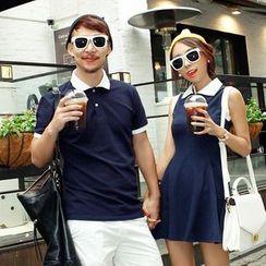 Je T'aime - Couple Matching Contrast Color Short Sleeve Polo Shirt / Sleeveless Dress