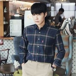 MITOSHOP - Long-Sleeve Pocket-Front Plaid Shirt