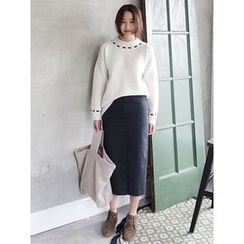maybe-baby - Slit-Side Cotton Long Skirt
