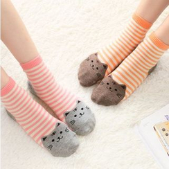 Lazy Corner - Cat Print Striped Socks