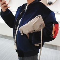 DISCOSALON - Contrast-Trim Velvet Flight Jacket