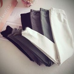 Munai - Fleece-Lined Furry-Panel Pants