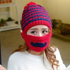 卿本佳人 - 條紋貝雷帽連面罩