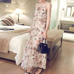 Phyllis - Floral Print Spaghetti Strap Chiffon Dress