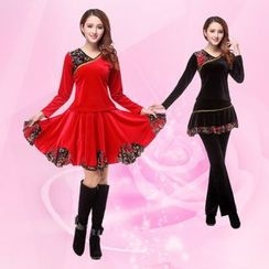 Lithe - Dance Set: V-Neck Long Sleeve Top + Skirt / Inset Skirt Pants