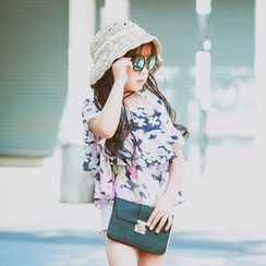 Lemony dudu - Kids Short-Sleeve Floral Chiffon Top