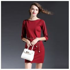 Elabo - 3/4-Sleeve Boat Neck Shift Dress