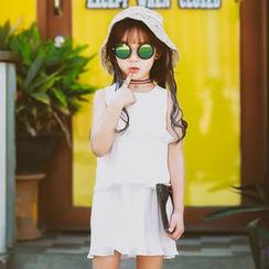 柠檬嘟嘟 - 童装无袖荷叶边连衣裙