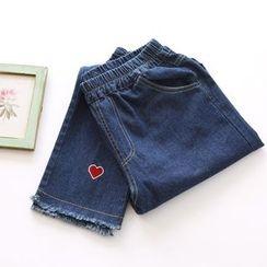 布丁坊 - 刺繡哈倫牛仔褲
