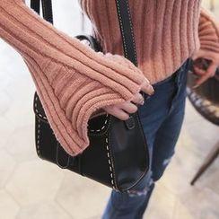 DABAGIRL - Bell-Sleeve Slim-Fit Rib-Knit Top