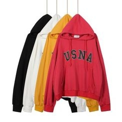 Momewear - Drawstring Hooded Lettering Pullover