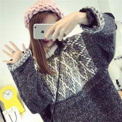 Ichiyarn - Patterned Panel Long Sweater