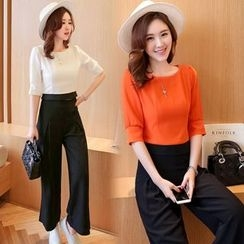 Ekim - Set: Plain Elbow-Sleeve Blouse + Wide Leg Pants