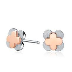 MBLife.com - Left Right Accessory -  925 Sterling Silver Two Tone Four Leaf Clover Satin Finish Stud Earrings, Women Girl Fashion Jewellery