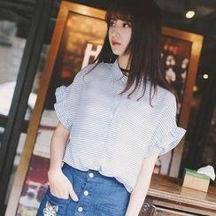 Wimi girls - Striped Ruffle Trim Short Sleeve Shirt