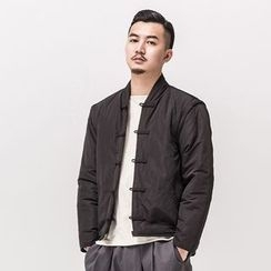Ashen - Chinese-Style Detachable-Sleeve Frog-Button Jacket