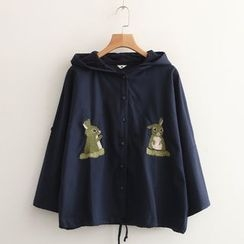 Aigan - Embroidered-Rabbit Hooded Jacket