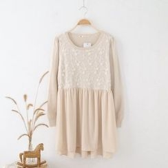Janseed - Long-Sleeve Knit Panel Dress