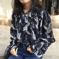 Eva Fashion - Print Tie Neck Chiffon Blouse