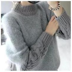Angel Shine - Mock-Neck Cable-Knit Sweater