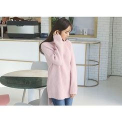 Envy Look - Turtle-Neck Ribbed Long Sweater