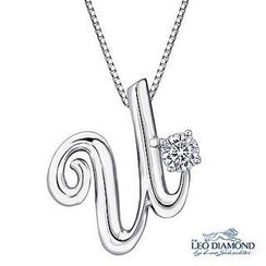 Leo Diamond - Initial Love 18K White Gold Diamond Pendant Necklace (16') - 'U'
