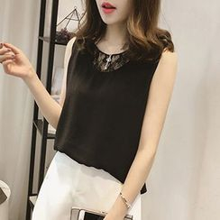 Little V - Lace Panel Sleeveless Top