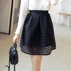 Loverac - Pleated Mesh Mini Skirt