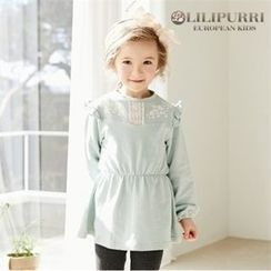 LILIPURRI - Girls Lace-Trim Band-Waist Top