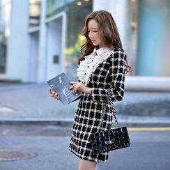 Dabuwawa - Long-Sleeve Ruffled Check Dress