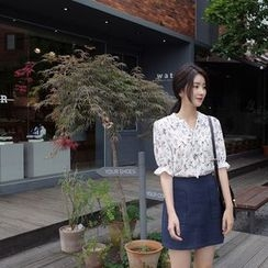 mimi&didi - Elbow-Sleeve Tie-Front Floral Top