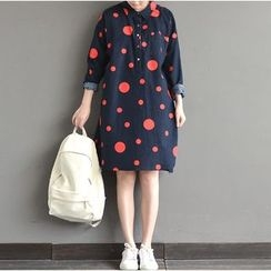 Epoch - Long-Sleeve Dotted A-line Dress