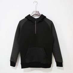 Mr. Cai - Hooded Zip Raglan Pullover