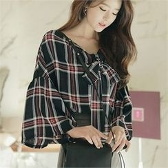 CHICLINE - Wide-Sleeve Check-Patterned Blouse