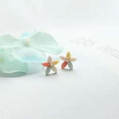 Bmuse - Flower Earrings / Clip On Earrings