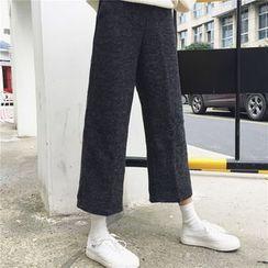 MePanda - Cropped Knit Wide Leg Pants