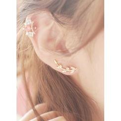 kitsch island - 水鑽樹葉耳環