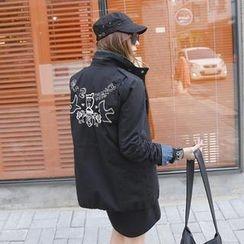 REDOPIN - Embroidered Back Drawstring-Waist Jacket