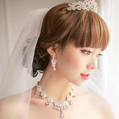Luxury Style - Bridal Set: Tiara + Rhinestone Necklace + Drop Earrings