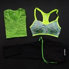 G.LIMITROCK - Set: Sport T-Shirt + Bra Top + Inset Shorts Pants