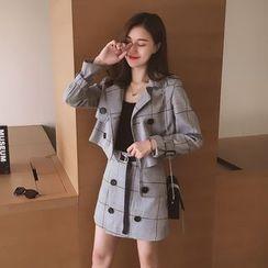 Ashlee - Set : Double-breasted Plaid Jacket + A-line Skirt
