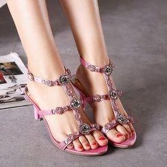 Monde - Embellished High Heel Sandals