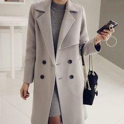 Seoul Fashion - Double-Breasted Stitched Coat