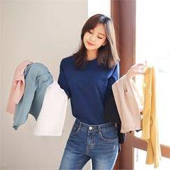 Styleberry - Round-Neck Elbow-Sleeve T-Shirt
