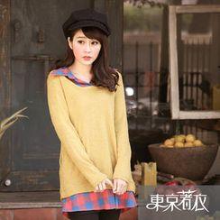Tokyo Fashion - Inset Plaid Shirt Knit Top