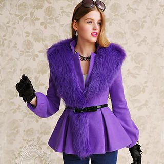 Dabuwawa - Faux-Fur-Trim Peplum Jacket