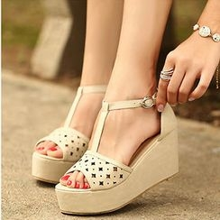 Mancienne - Perforated T-Strap Wedge Sandals