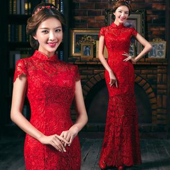 Royal Style - Cap-Sleeve Mandarin Collar Lace Sheath Evening Gown