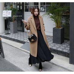 Miamasvin - Hidden-Buttoned Wool Blend Long Coat